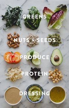 It occurred to me that every salad I whip together has more or less the same five elements. So here's a grid I made to help you mix it up. Raw Food Recipes, Healthy Recipes, Shrimp Recipes, Healthy Meals, Easy Recipes, Chicken Recipes, Vegetarian Recipes, Dinner Recipes, Dessert Recipes