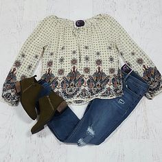 Fall Border Print Taupe Top from Cousin Couture.