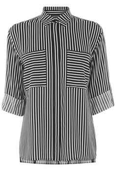 This monochrome shirt is constructed from a lightweight woven fabric and features a peak collar, button-through front, short sleeves, two breast pocket and all-over stripe design. Length of top, from shoulder seam to hem, 62cm approx. Height of model shown: 5ft 10 inches/178cm. Model wears: UK size 10.Fabric: Main: 100.0% Viscose.Wash care: Machine WashProduct code: 02297899 £32.00