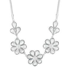 The Collection Silver crystal triple flower necklace | Debenhams