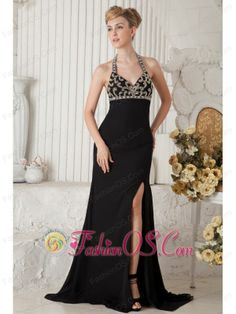 Black Empire Halter Beading Prom Dress Brush Train Chiffon  http://www.fashionos.com  If you're looking for a high-end dress without the high-end price tag, this is definitely one you should consider. Classical body-hugging bodice has a halter top and modified sweetheart overflowing with floral beading that accents the vintage style. The airy chiffon skirt beginning from the high waist with a seductive slit to set off your sexy legs. The hidden zipper back give you perfect yet mysterious…