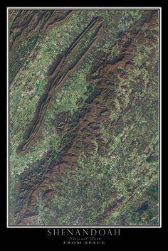 Shenandoah National Park Virginia Satellite Poster Map