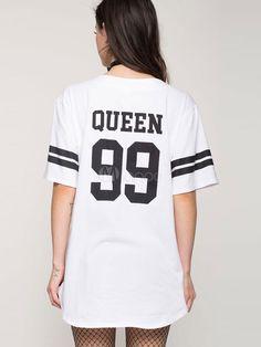 Abito a T-shirt bianco casuale cotone con scollo a V con scritte maniche corte per ragazze
