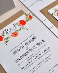 Whimsical type and colorful florals make this invitation feel warm