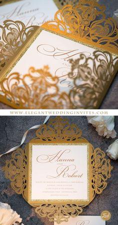 Graceful and simple gold laser cut wedding invitations EWWS058