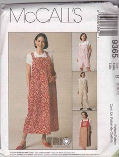 McCall's Sewing Pattern 9365 Misses Size 8-12 Easy Maternity Bib Jumper Overalls in 2 Lengths