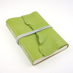 SHIPS NOW Leather Sketchbook / Journal in Green & White with natural raw edge