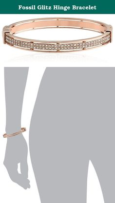 Fossil Glitz Hinge Bracelet. With its classic and simple design, our Glitz bangle is a perfect everyday accessory. Rose gold-tone stainless steel and crystal detailing make it a keepsake.