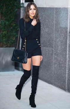 Punch up head-to-toe noir a la Olivia Culpo in gold-embellished shorts and thigh-high boots. Latest Outfits, Mode Outfits, Fashion Outfits, Womens Fashion, Fashion Trends, Olivia Culpo Style, Celebrity Outfits, Celebrity Style, Looks Com Short