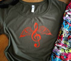 Treble Angel T-Shirt...Beautiful Treble Clef Angel music Design, Ladies Tee Shirt, Symphony Band Chior Orchestra Musical Gift, Womens S-3XL by JBirdApparelCo on Etsy
