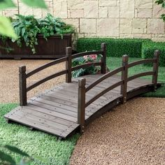 A classic, graceful design and handsome dark brown stain ensure this Outdoor Wooden Garden Bridge with Handrails in Dark Charcoal Wood Stain will create your perfect garden oasis. Whether you use it as a traditional bridge, or to simply Garden In The Woods, Home And Garden, Garden Oasis, Garden Tips, Pallets Garden, Wooden Garden, Wooden Bridge Garden, Patio Design, Garden Design Ideas