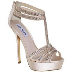 Steve Madden Showstop High Sandals ❤ liked on Polyvore featuring shoes, sandals, heels, high heels, zapatos, kids, rhinestone shoes, rhinestone heel shoes, rhinestone platform shoes and platform shoes