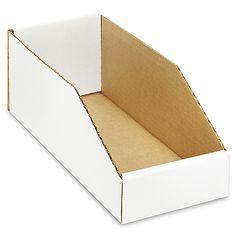 "ULINE white cardboard display / 5 x 12 x 4.5"" / holds 1 wide, 8 deep / 100x = $.82 per box"