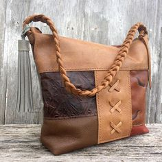 Leather Patchwork Shoulder Bag in Brown Specialty Leathers and