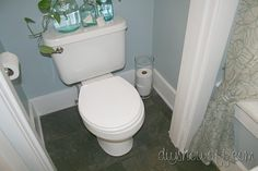 """An old farmhouse tiny powder room gets a do it yourself makeover, before and after half bathroom transformation using Benjamin Moore paint in """"Smoke"""". Small Half Bathrooms, Small Bathtub, Small Rooms, Small Bathroom Inspiration, Bathroom Ideas, Diy Tapete, Bathroom Before After, Door Hanging Decorations, Wood Bath"""