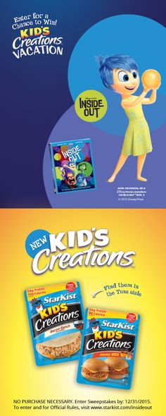 Enter the StarKist Kid's Creations™ Sweepstakes for a chance to win a Funjet Vacations trip for four to San Francisco!   Click this picture to learn how to enter the sweepstakes today. Don't forget to get a copy of Inside Out, on Digital HD & Disney Movies Anywhere today!