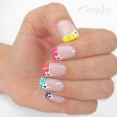 Summer nails design 76 - All For New Hairstyles Fancy Nails, Diy Nails, Cute Nails, Pretty Nail Art, Rainbow Nails, French Tip Nails, Flower Nails, Manicure And Pedicure, Nails Inspiration
