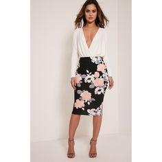Francesca Peach Rose Print Midi Skirt ($6.23) ❤ liked on Polyvore featuring skirts, orange, floral print midi skirt, pink floral skirt, pink skirt, elastic waist skirt and orange skirt