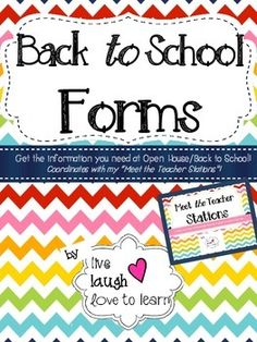 Back to School forms!These forms coordinate with my Meet the Teacher Stations  Rainbow Chevron.  Gather information from your students families during your Meet the Teacher or Open House! Print and cut the Wish List cards and write down the items youd like for your classroom!