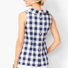 Shop Talbots for modern classic women's styles. You'll be a standout in our Audrey Shell - Gingham - only at Talbots! Gingham Pants, Gingham Dress, Capri Outfits, Preppy Outfits, Classy Work Outfits, Colored Pants, Classic Style Women, Blouse Styles, Plus Size Tops