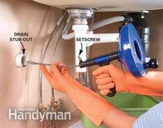 How to Unclog a Sink With two simple tools—a plunger and a drain snake—you can clear 95 percent of your stopped-up drain problems . Kitchen Sink Clogged, Unclog Sink, Double Kitchen Sink, Clogged Drain Pipe, Clogged Pipes, Clogged Drains, Plumbing Pipe Shelves, Plumbing Tools, Plumbing Fixtures