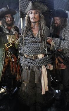 Johnny Depp on the set of Pirates of the Caribbean Dead Man tell no Lie