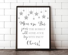 Twinkle Star Baby Shower Mom-osa Bar Sign Silver Baby Shower Mimosa Bar Sign Printable Baby Shower Mom-osa Sign Baby Shower Mimosa Bar Sign by MintedDelights on Etsy Twinkle Star, Twinkle Twinkle, Baby Shower Signs, Baby Shower Games, Mimosa Bar Sign, Thing 1, Star Wars, Star Baby Showers, Elements Of Art