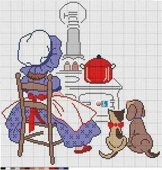 Cozinha Cross Stitch For Kids, Cross Stitch Kitchen, Cross Stitch Bird, Cross Stitch Charts, Cross Stitch Designs, Cross Stitching, Cross Stitch Embroidery, Cross Stitch Patterns, Holly Hobbie
