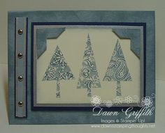 """Patterned pines Night of Navy and Bordering Blue:  Direct to paper technique using the BB cardstock and ink pad and then the """"marker magic"""" method on the rubber stamp."""