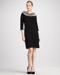 Fur-Trim Cashmere Dress - Neiman Marcus