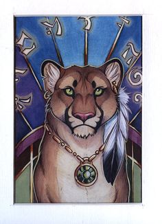 Framed Mini Print Mystic Puma by CybercatGraphics on Etsy, $10.00  fantasy art, furry art, animal art, magic, traditional art, cat, cougar, puma, deviantart, da, magic, fantasy, feline, colored pencil,