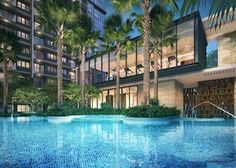 Singapore real estate listings, property for sale/rent, project new launches. House Landscape, Landscape Design, Home Gym Design, House Design, Condo Floor Plans, Lobby Design, Beach Road, Hospitality Design, Condominium