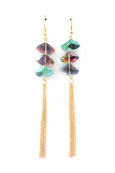 Vitrail Crystal Earrings - SO pretty, and I love the sliced, faceted Vitral Crystals and fringe