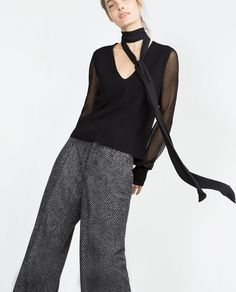 Image 2 of SWEATER WITH TRANSPARENT SLEEVES from Zara