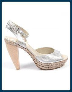 NINE WEST - Damen Knöchelriemen Sandale NWCASTING SILVER SLV Hacke: 11 cm - Sandalen für frauen (*Partner-Link)