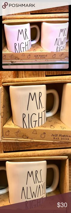 """Rae Dunn MR RIGHT, MRS ALWAYS RIGHT Mug Set A brand new set of Rae Dunn mugs from their """"just married"""" collection featuring MR RIGHT, and MRS ALWAYS RIGHT mugs.  Comes with gift box as shown.  **Rae Dunn is known to be imperfectly perfect,  which makes her product so unique, please examine each picture by zooming in and making sure you don't see anything you're surprised by before buying. ***bundle and save on shipping with other Rae Dunn items  **will package extra safe with tons of bubble…"""