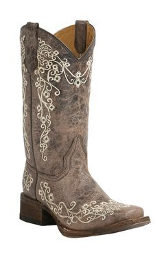 Corral Youth Vintage Tan w/ Ivory Floral Embroidery Square Toe Western Boots   Cavender's