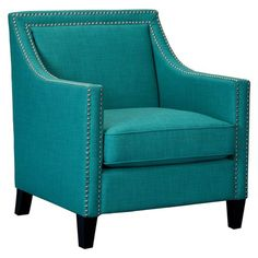 Picket House Furnishings Erica Chair with Chrome Nailhead Trim Heirloom Teal Teal Chair, Teal Accent Chair, Accent Chairs, My Living Room, Living Room Chairs, Living Room Furniture, Teal Furniture, Furniture Chairs, Dining Chairs