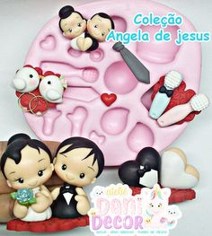 Fondant Molds, Fondant Figures, Fondant People, Wedding Anniversary Cakes, Pasta Flexible, Cold Porcelain, Clay Art, Cake Toppers, Paper Art