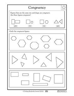 3rd grade, 4th grade Math Worksheets: Congruent triangles ...