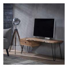 Tropical - TV-bord i massivt akacietræ Tv Vintage, Style Vintage, Drafting Desk, Office Desk, Corner Desk, New Homes, Interior, Metal, House