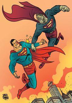 Superman vs Bizarro by David Rubin