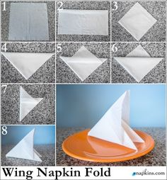 fold paper napkins wing tinker tip simple design cover . fold paper napkins wing tinker tip simple design fold paper napkins wing tinker tip Fancy Napkin Folding, Paper Folding, Table Etiquette, Deco Table, Decoration Table, Paper Napkins, Simple Designs, Origami, Table Settings