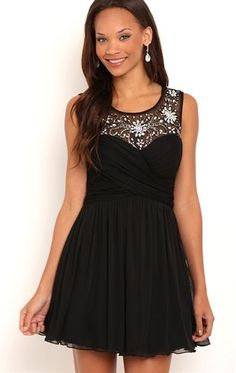 Deb Shops Short Homecoming Dress with Illusion Bodice and Soft Skirt $80.00
