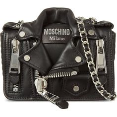 MOSCHINO Biker jacket cross-body bag (15.030 ARS) ❤ liked on Polyvore featuring bags, handbags, shoulder bags, black, black crossbody purse, leather shoulder bag, black leather purse, leather purse and black cross body purse