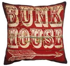 Add a touch of rustic appeal to your sofa, chaise, or bed with this handsome burlap and cotton pillow, showcasing a weathered motif in red.