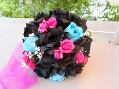 Items similar to Brides Maids 4 bouquets 4 Groomsmen boutonnieres ,fuchsia, turquoise and ivory roses Nosegay round style 8 pc on Etsy Black Bouquet, Maids, Groomsmen, Wedding Bouquets, Trending Outfits, Unique Jewelry, Awesome, Handmade Gifts, Etsy