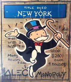 Alec Monopoly - Monops New York - Eden Fine Art Gallery Banksy Art, Graffiti Art, Monopoly Man, International Artist, Fine Art Gallery, Vintage Paper, Urban Art, Artist At Work, New York