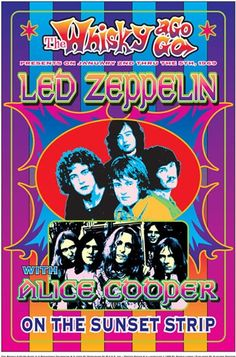 Vintage, retro, classic rock poster - Led Zeppelin and Alice Cooper.