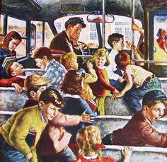 Monday Morning Bus Ride, art by Amos Sewell.  Detail from Saturday Evening Post cover September 9, 1950.